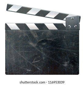 Grunge blank film clapper on white background, scratched surface