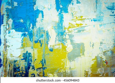 Grunge blue and green background. Oil painting. Scratched wall texture. Fragment of artwork.
