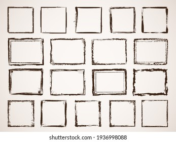 Grunge borders. Damage framing scratchy shapes brushes style hand drawn set