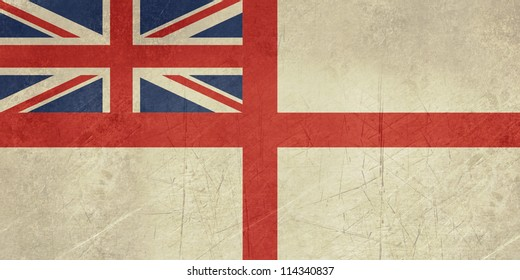 Grunge British Royal Navy ensign or flag in official colors.