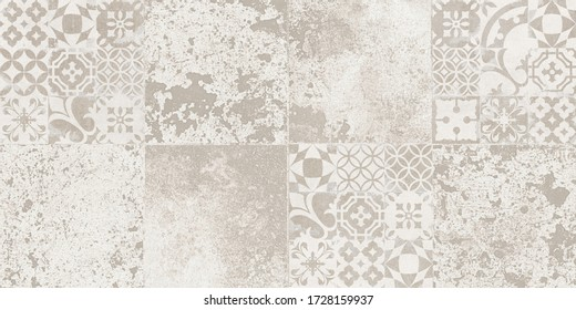 grunge cement and retro pattern tile background