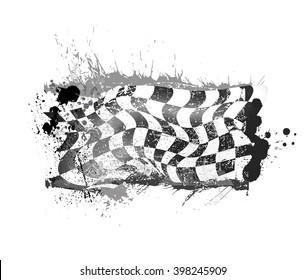 grunge checkered race flage
