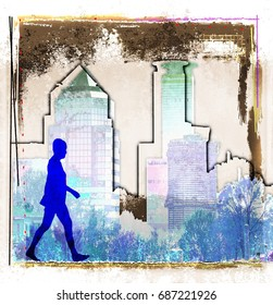 Grunge city skyline with woman figure silhouette.