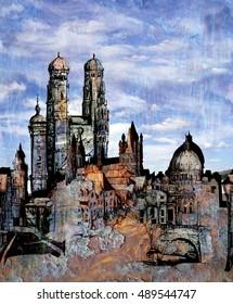 Grunge cityscape block pattern