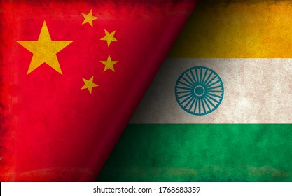 Grunge country flag illustration / China vs India (Political or economic conflict)