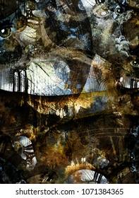 Grunge Dark Textured Manhattan Bridge Abstract. Clock face and eyes. 3D rendering