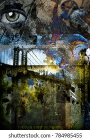Grunge Dark Textured Manhattan Bridge Abstract