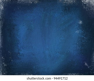 grunge deep blue background with faded white edges and blotchy grungy stains with center highlight and dark edges and copy space for text or image of your ad or brochure