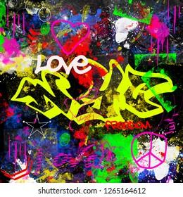 grunge design new york city graffiti style molticolor paitn brush effect urban street artist background