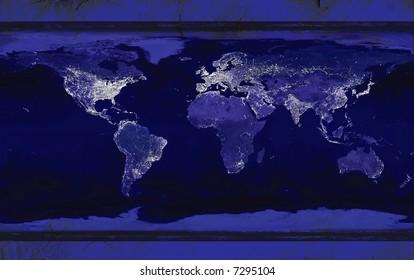 Grunge Earth Actual City lights courtesy of Nasa http://visibleearth.nasa.gov/