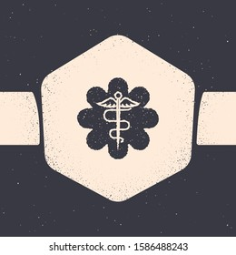 Grunge Emergency star - medical symbol Caduceus snake with stick icon isolated on grey background. Star of Life. Monochrome vintage drawing.