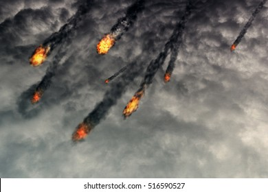 Grunge fireballs with smoke tails over cloudy background.