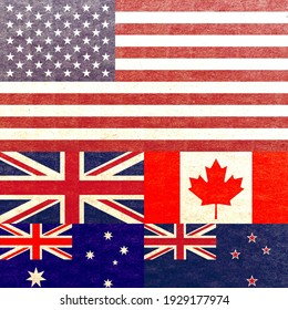 Grunge Five Eyes (FVEY) countries national flags isolated together, abstract USA, UK, Canada, Australia and New Zealand politics concept