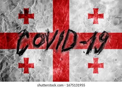 Grunge flag of Georgia with hand drawn Coronavirus name on it. 2019 - 2020 Novel Coronavirus (2019-nCoV) concept, for an outbreak occurs in Georgia.