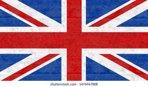 Grunge flag of Great Britain, UK. Isolated English banner with scratched texture on denim fabric. Icon of flag of England with noise, marble textured background, vintage. Horizontal.