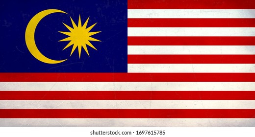 Grunge Flag of the Malaysia , Malaysia flag pattern on the concrete wall, flag of Malaysia banner on scratched vintage texture, retro effect , Background for design in country flag