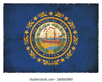 Grunge flag of New Hampshire (USA)