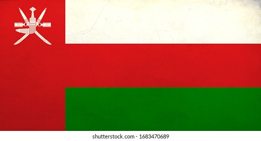 Grunge Flag of the Oman, Oman flag pattern on the concrete wall, flag of Oman banner on scratched vintage texture, retro effect , Background for design in country flag
