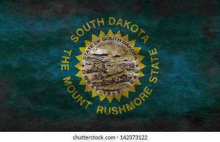 Grunge flag of South Dakota