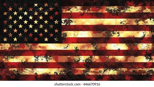 Grunge Flag Of USA. Grunge American Flag. Vintage National Flag USA.