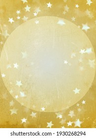 Grunge gold background with gold circle and stars