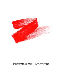 Grunge hand drawn with a brush. Curved brush stroke. red color