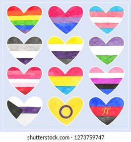 Grunge hearts. Gay, Transgender, Bisexual, Asexual, Non-binary, Genderqueer, Lesbian, Pansexual, Genderfluid, Demisexual, Intersex and Polyamorous pride symbols. LGBT, LGBTQIA, MOGII community symbol.