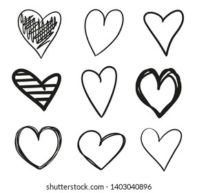 Grunge hearts on isolated white background. Set of stylish signs. Unique elements for design. Black and white illustration