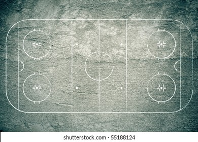 Grunge hockey rink with chalk lines.