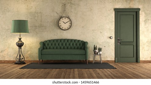 Grunge home interior with green sofa and closed door - 3d rendering