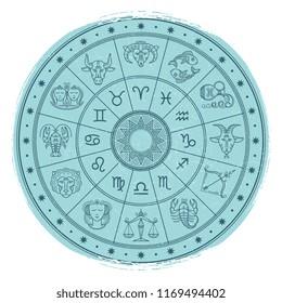 Grunge horoscope signs in astrology circle - vintage astrology emblem design. illustration
