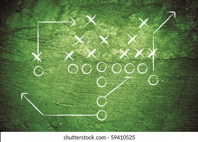 Grunge illustration of american football play with x's and o's.