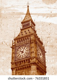 Grunge illustration of the Big Ben Houses of Parliament Westminster Palace London gothic architecture