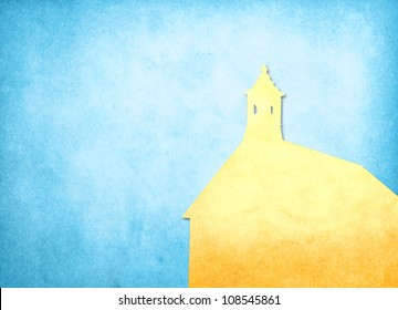 Grunge image of church from old paper with copy space