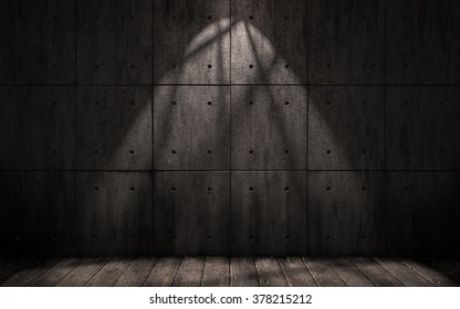 grunge industrial background, dark underground room with walls of concrete slabs and wooden floor
