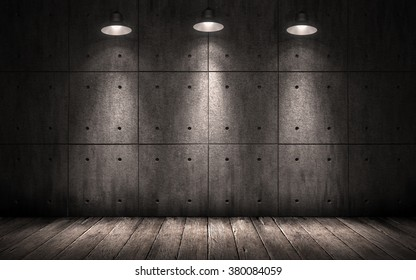 grunge industrial background illuminated ceiling lamps, dark room with walls of concrete slabs and wooden floor