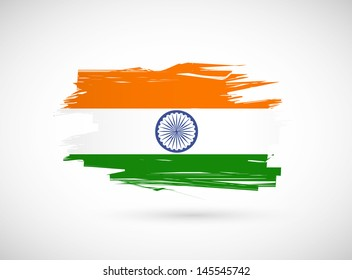 grunge ink indian flag illustration design over white