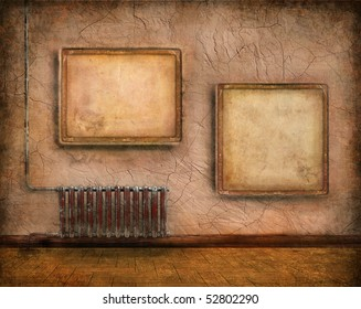 grunge interior with radiator and empty frames