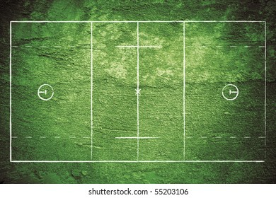 Grunge lacrosse field with chalk drawn lines.
