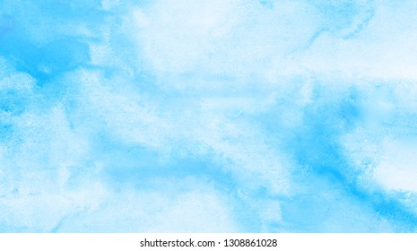 Grunge light sky blue shades watercolor background. Aquarelle paint paper textured canvas for vintage text design, retro greeting card, template. Turquoise color handmade illustration