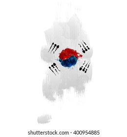 Grunge map of South Korea with South Korean flag