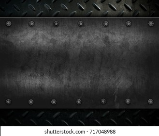 grunge metal with diamond plate background