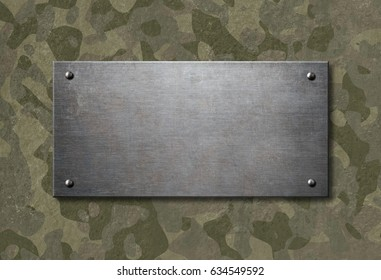 Grunge metal plate with military camouflage 3d illustration