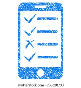 Grunge Mobile Todo List icon with scratched design and dust texture. Unclean raster blue Mobile Todo List pictogram for rubber seal stamp imitations and watermarks. Draft sign symbol.