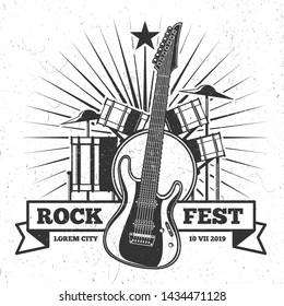 Grunge monochrome rock festival poster and banner design. Hipster music emblem illustration