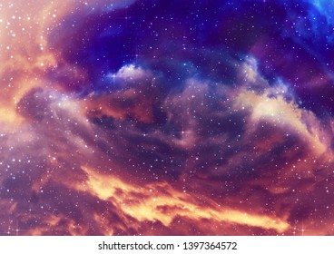 Grunge nebula clouds with stars, abstract outer space illustration.