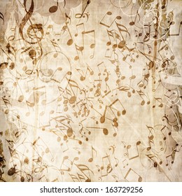 grunge paper texture with some music notes on it