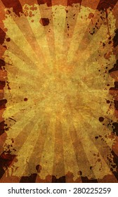 A grunge poster background on old paper texture with border frame and radials in 11X17 format.