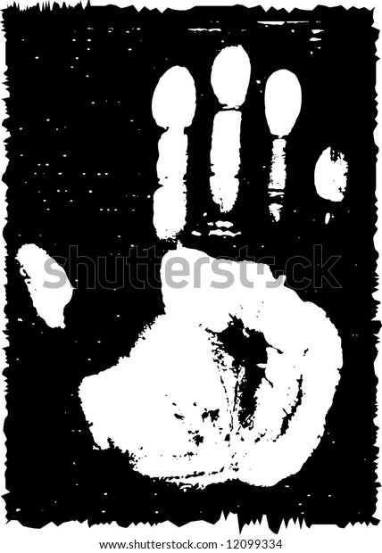 Grunge print from a palm. Raster illustration. Black-and-white.