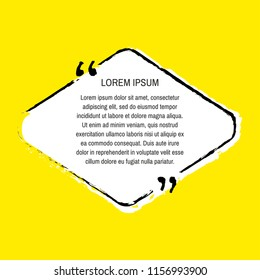 Grunge quote box set on yellow background. Templates quote bubbles or statements or comments with space for text in a flat style.